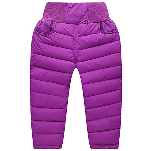 Kinder Baby Daunenhose Stepphose Schneehose Dicke Warm Winter Kleinkinder Leichte Daunen Hose Winterhose für Junge Mädchen Lila 80