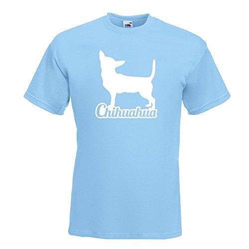 KIWISTAR - Chihuahua mit Name Techichi T-Shirt in 15 verschiedenen Farben - Herren Funshirt bedruckt Design Sprüche Spruch Motive Oberteil Baumwolle Print Größe S M L XL XXL Himmelblau