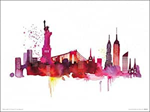 Posters: New York Poster Art Print - Statue Of Liberty And Buildings, Summer Thornton (16 x 12 inches)