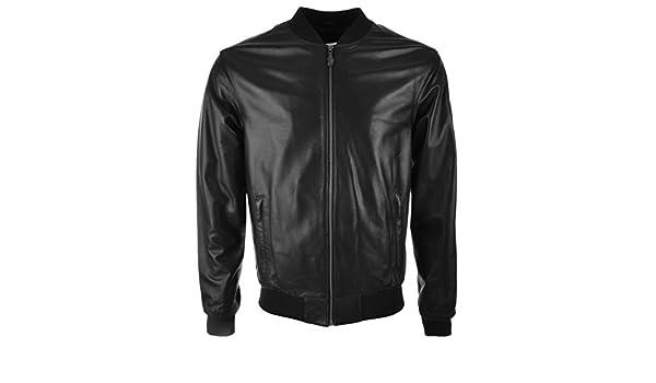 c363ec05959 Hommes Versace Jeans Cuir Bomber Veste Noir - Large  Amazon.fr  Vêtements  et accessoires