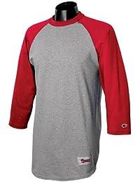 Champion - T-shirt de sport - Manches 3/4 - Homme Gris Oxford / rouge écarlate