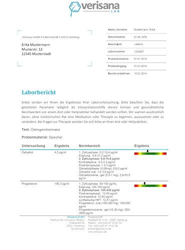 Verisana Hormonprofil Mann Östradiol, Progesteron, Testosteron, DHEA & Cortisol | Hormone Männer testen per Speicheltest - 4