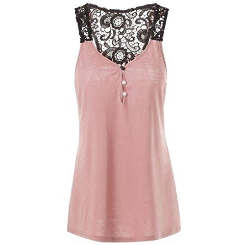 n Spitze Patchwork Knopf Bluse ärmelloses T-Shirt Crop Weste Plus Größe (Badeanzug Weibliche Plus Size Kostüme)