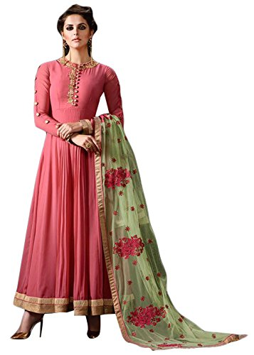 Anarkali Suit Party Wear - Semi Stitched Full Length Suits for Women Beautiful Ethnic Pink Anarkali Suit for Wedding Parties Festive Occasions Salwar Suits for Women by Designer Desk