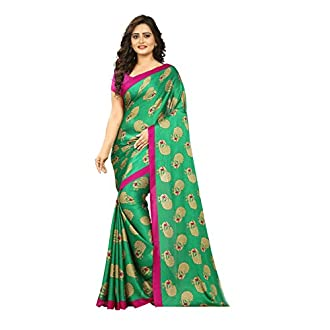 Jaanvi fashion Women's Peacock Crepe Silk Kalamkari Printed Saree (Green)
