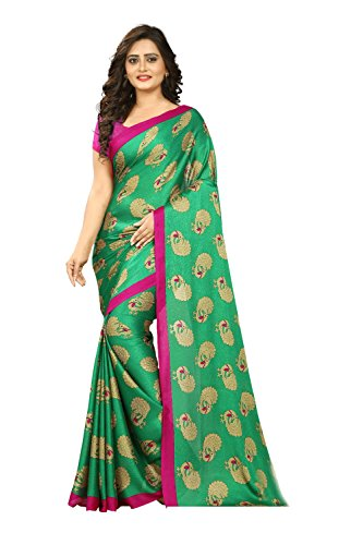 Jaanvi fashion Women\'s Peacock Crepe Silk Kalamkari Printed Saree (Green)