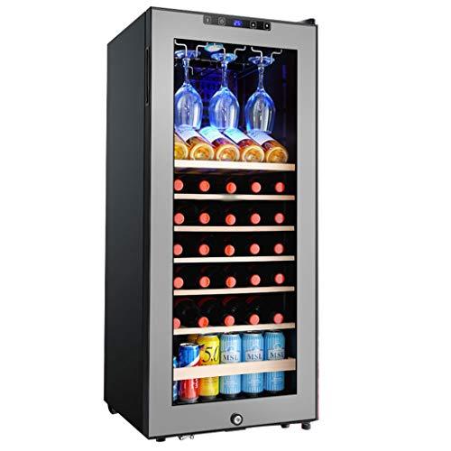 GXFC 33 Flasche Freistehender Weinkühlschrank, 128L Weinkühler/Getränkekühler, Mit Weinglasaufhänger, Lagerung bei konstanter Temperatur/LED-Beleuchtung, 5-18 °C