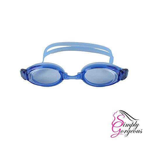 Simply Gorgeous Einstellbare Sport Schwimmen Erwachsene Schutzbrille Anti-Nebel UV-Objektiv - hellblau