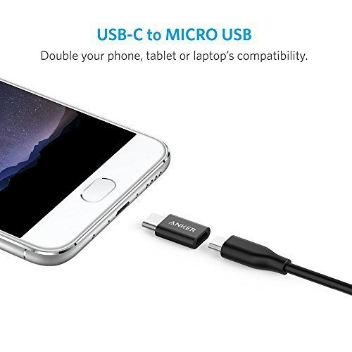 Anker USB-C auf Micro USB Adapter [2 in 1 Pack] verwandelt USB Type-C Input in Micro-USB, 56K Widerstand für MacBook Pro, MacBook (2015), ChromeBook Pixel, Nexus 5X, Nexus 6P, Nokia N1, OnePlus 2 und weitere (Schwarz)
