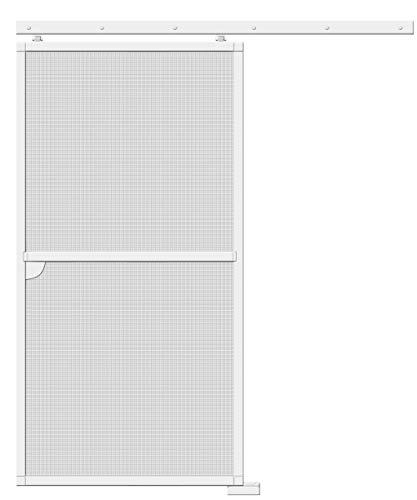 Schellenberg 70070 Insektenschutz Schiebetür PREMIUM, Fliegengitter für die Tür zum Schieben, barrierefrei, Alu-Profile und Fiberglas-Gewebe, kürzbar, 120 x 240 cm, Weiß