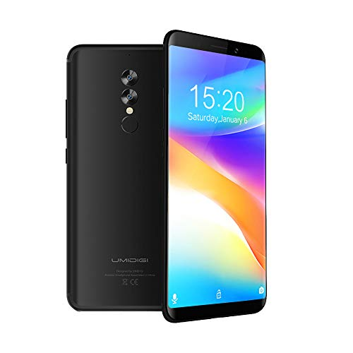 UMIDIGI S2 Lite, 6 Zoll Dual SIM Smartphone Ohne Vertrag Android 7,0 4GB + 32GB 16.0MP+5.0MP Dual-Kamera, Hadny mit 18:9 Infinity Display, Benachrichtigungs-LED 5100mAh großer Akku-Schwarz