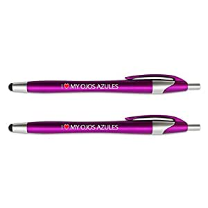 I Love My Ojos Azules Stylus with Retractable Black Ink Ball Point Pen 2-in-1 Combo Works On Any Touch Screen Device Including iPad, iPhone, Tablets and More - 2 Pack - Pink