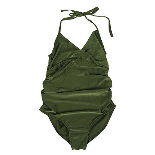 Wanfor Frauen Sexy High Cut Low Back Badeanzug, Tankini Geraffte Vorderteil Einteiler Neckholder Plus Size für Schwangerschaft (Grün, S) -