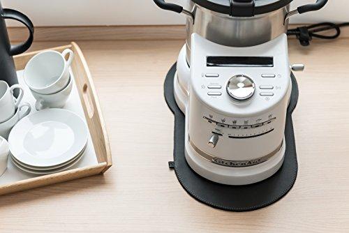 Fine Filz Ledergleiter passend für Kitchen Aid Artisan Cook Processor Küchenmaschinen aus echtem Leder und hochwertigem Filz (Dusty Black / Black)