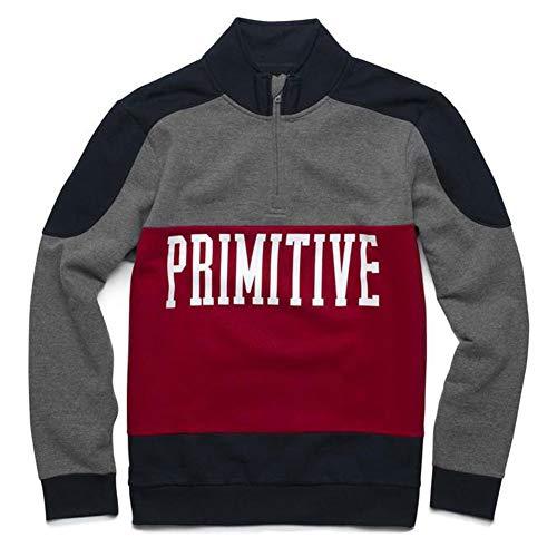 Primitive Skate Men's Countour Cadet Half Zip Long Sleeve Sweatshirt Midnight Blue L Colorblocked Zip