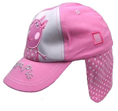 Girls Peppa Pig Legionnaires Cap Summer Hat Pink Spotty Design