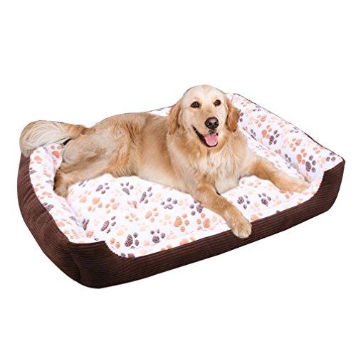 Lvrao animale rettangolare letto singola cani casa accogliente nido caldo morbido cuscino sacco a pelo tappetino per cane, gatto, coniglio (beige, l: 70 * 55 * 13cm)