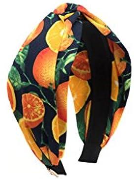 Niñas Hairband naranja patrón de tocado simple de borde ancho de clip de pelo