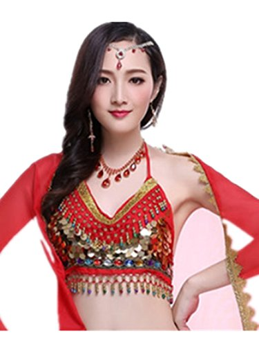 Women Sexy Dance Tops Bauchtanz Costume Sequins Coins Bell Sleeve Bandage Halter Bra Dancewear Yellow