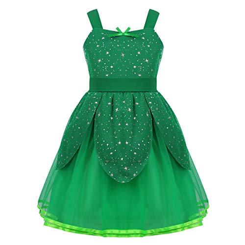 Agoky Mädchen Prinzessin Kleid Feen Kostüme für Kinder Festkleider mit Blätter Glitzer Abenteuer Fasching Karneval Verkleidung Grün (Mädchen Tinkerbell Prinzessin Kostüm)