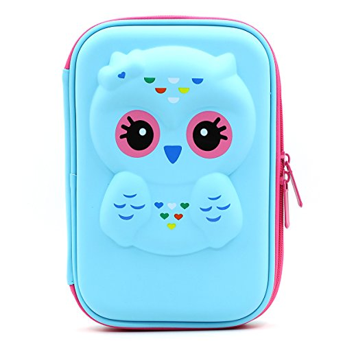 Soocute, astuccio rigido con gufo, portamatite elegante, in gomma EVA, con grande capacità, per studenti e bambini Light Blue