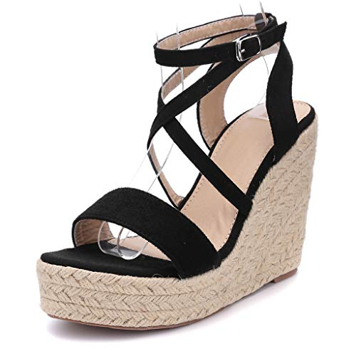 Sommer Sandalen Damen Pumps Plattform Schuhe Keilabsatz Sandalen Peep Toe Bequeme Schuhe Freizeitschuhe Keilschuhe Retro Sommersandalen