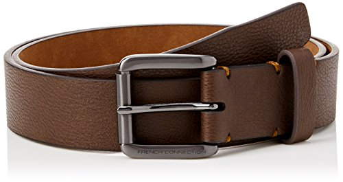 french-connection-stabstitch-belt-cinturon-para-hombre-brown-brown-tan-large-talla-del-fabricante-34