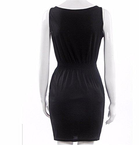QIYUN.Z Plage Europe Couleur Fluorescente Elastique Femmes De La Mode Taille Mini Robe Sundress Noir