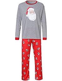 Ropa Conjunto de Pijamas Familiares de Navidad para Familia Padre Madre Niño Blusa Manga Larga Santa Claus + Pantalones Casual,Traje de Ropa de Mujer Hombre Niños Gusspower