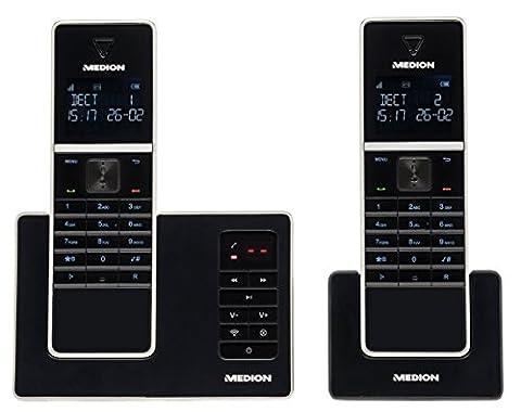 MEDION LIFE MD 84902 Schnurlostelefon, Duo DECT Telefon mit digitalem Anrufbeantworter und inklusive 1 zusätzlichen Mobilteil, beleuchteter Tastatur,