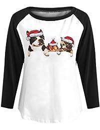 VJGOAL Mujeres otoño e Invierno Moda Casual Manga Larga Navidad Ciervos Empalme de Cuello Redondo Blusa Suelta Manga Larga Tops Camisa