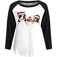 LILICAT☃ Camiseta de Manga Larga con Estampado Animal y Estampado Animal de Navidad para Mujer Camiseta Holgada con Manga Larga y Estampado Animal