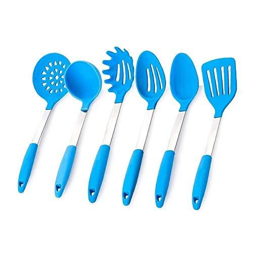 JSS Lot de 6 ustensiles de cuisine en silicone résistant à la chaleur bleu