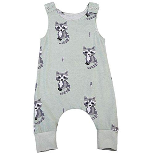 Baby Junge Mädchen Ärmellos Katze Drucken Spielanzug Outfits Hirolan (100cm, Grün) (Katze In Den Hut Partei Ideen)