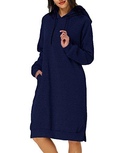 Kidsform Damen Kapuzenpullover Pullover Hoodie Lange Tops Langarm Sweatshirt Casual Täglich Herbst Pulli Kleider Sweatjacke JumperMarine EU 40-42/Etikettgröße L