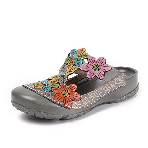 Gracosy Damen Sandalen, Sommer Leder Pantoffel Vintage Slipper Rückenfrei Clogs Bunte Blume Schuhe Weich Komfortabel Grau-New 42
