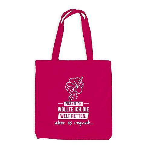 Jutebeutel - Einhorn - Die Welt retten, aber es regnet - Unicorn Pink