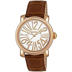 Pocket Rond Medio Women's Quartz Watch with White Dial Analogue Display and Brown Leather Strap PK2002