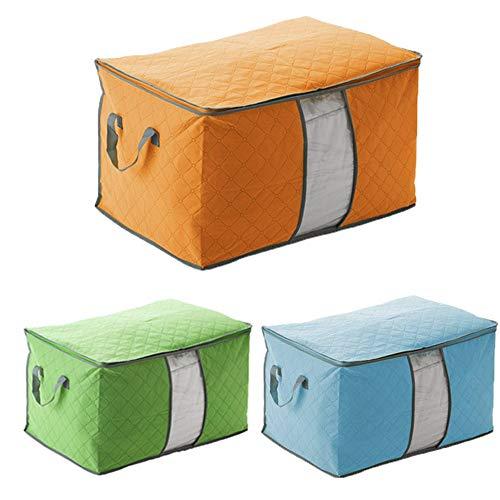 Zenguiha Bolsa de Almacenamiento Colorida para el hogar, Bolsa de Almacenamiento de Tela de carbón de bambú Grueso para Ropa de Cama Edredón Juego de edredón de 3 (Size : 58×42×34 cm)