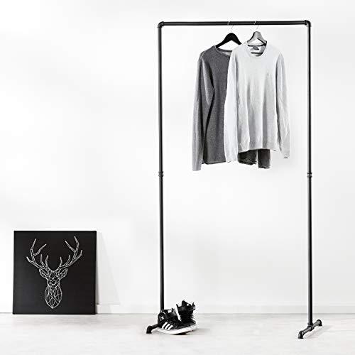 pamo. Kleiderständer im Vintage Industrial Design – Gaderobenständer schwarz Metall aus Wasserrohre (Lil LAS HIGH (194cm x 94cm))