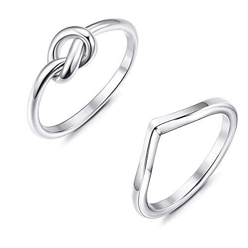 Finrezio 2 Stücke Edelstahl Verlobungsringe für Frauen Silber Daumen Liebe Knoten Ringgröße 47 Silber Ton