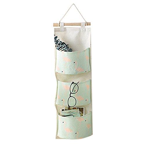 Meedot 3 Poches de Lin en Coton Sac de Poche Suspendu en Coton Garde-Robe Mur de Porte Simple accrocher Panier de Rangement Organe de Godet Space Saver Gift Green Flamingo
