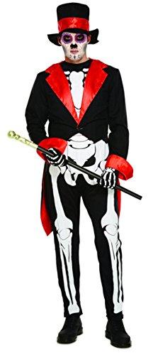 Herren Erwachsene Tag der Toten Maskenkostüm für Mexikanisch Halloween Skelett Schädel Outfit (Skelett Halloween Outfit)