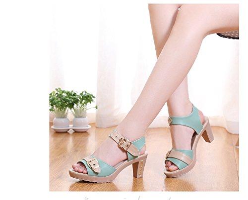 LGK&FA Estate Donna Sandali un nuovo paio di sandali tacchi tacchi tacchi e talloni 33 Nero 41 green