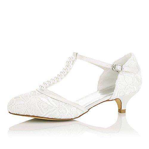 Jia jia scarpe da sposa da donna 01129 punta chiusa t-strap tacco basso raso di pizzo pompe imitazione scarpe da sposa colore avorio, taglia 41 eu