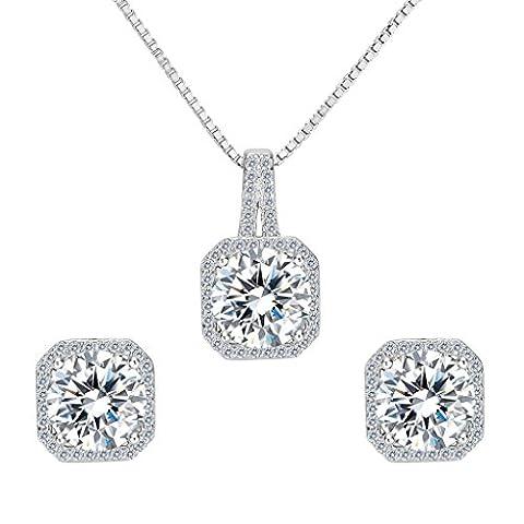 Clearine Women's 925 Sterling Silver Wedding Bridal Cubic Zirconia Basket Set Round Pendant Necklace Pierced Earrings