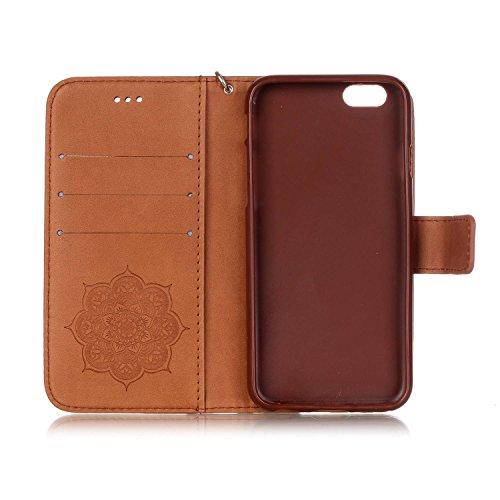 Apple iPhone 5S Hülle , Camiter rot Traumfängerentwurf Leder pu Wallet Case Schutzhülle Standfunktion Handytasche Hülle für Apple iPhone 5 /5S /SE + Freies Reinigungstuch braun