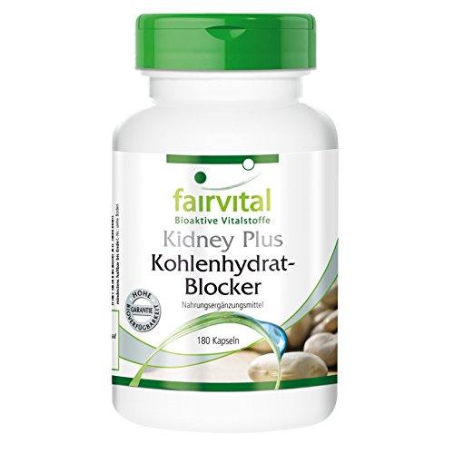 Kidney Plus Kohlenhydrat-Blocker - für 1 Monat - VEGAN - HOCHDOSIERT - 180 Kapseln - mit Chrom, Fenugreek und grünem Kaffee