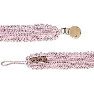 LOOP BABY rosa Schnullerband aus Bio-Baumwolle gehäkelt – Vintage Schnullerkette – handgemacht