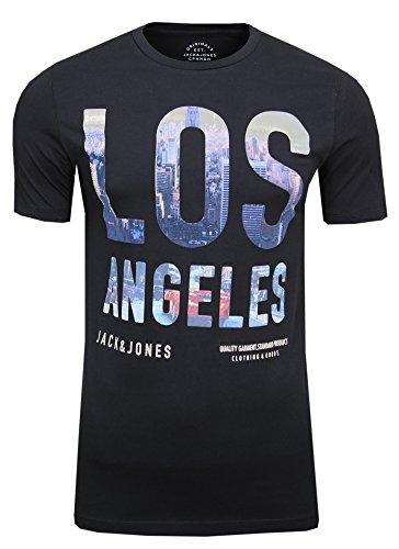 JACK & JONES Herren T-Shirt JORDOWNTOWN Tee SS Crew Neck Skyline Print, (Black,S)